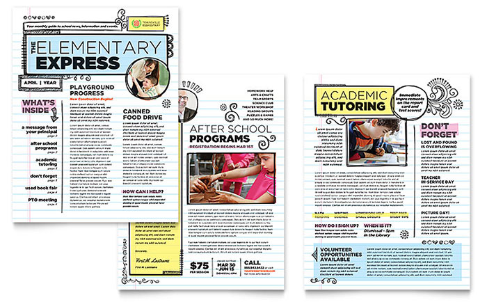 Business newsletter templates newsletter designs elementary school business newsletter template saigontimesfo