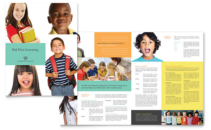 Charter school brochure template design for Non profit charter template