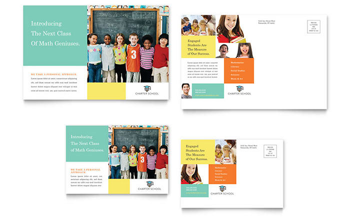 Charter school postcard template design for 6x4 postcard template