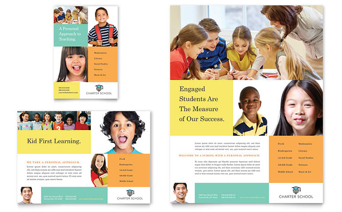 Charter School Flyer & Ad Template Design - InDesign, Illustrator, Word, Publisher, Pages