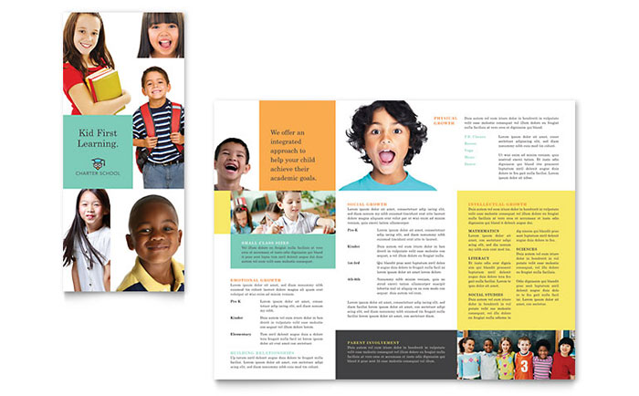 Charter school tri fold brochure template design for Non profit charter template