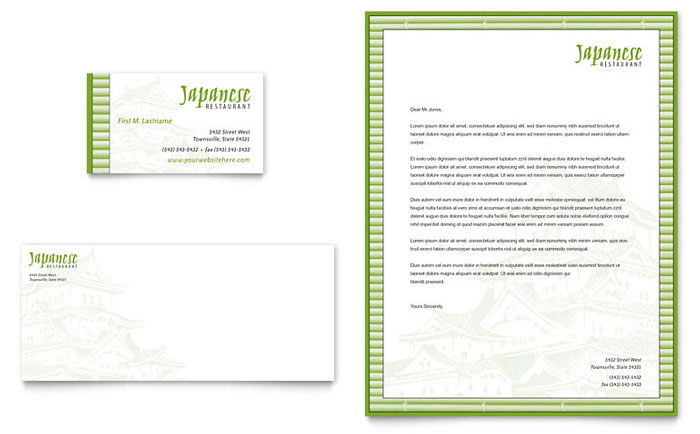 Japanese Restaurant Business Card & Letterhead Template Design Download - InDesign, Illustrator, Word, Publisher, Pages