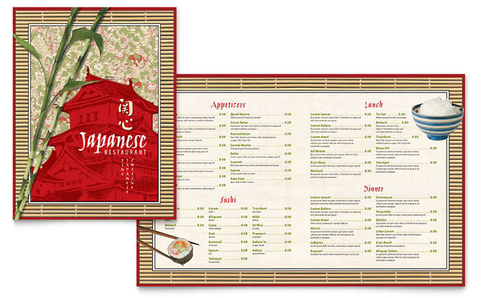 Japanese restaurant menu template design for Microsoft publisher menu templates free