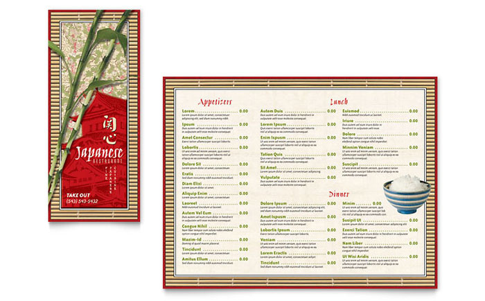 Japanese restaurant take out brochure template design