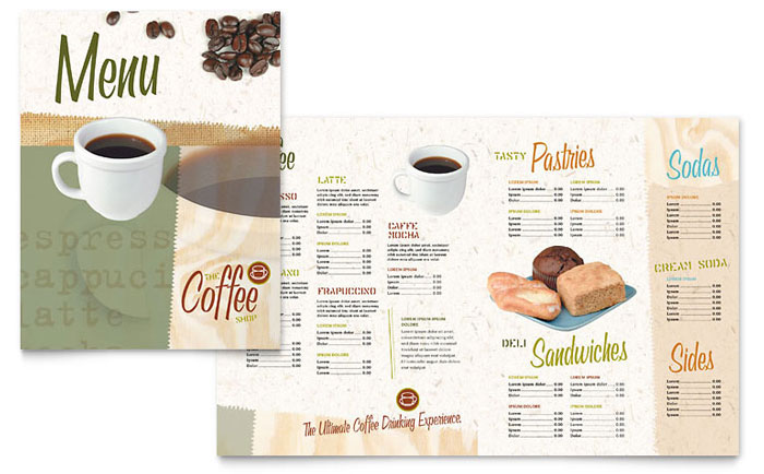 Coffee shop menu template design for Menu brochure template word