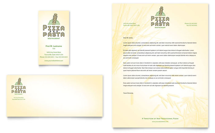 Italian pasta restaurant business card letterhead template design colourmoves