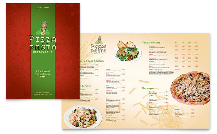 Italian Pasta Restaurant Menu Template Design Download - InDesign, Illustrator, Word, Publisher, Pages