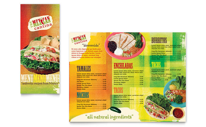 Mexican Restaurant Takeout Brochure Template Design - Food brochure templates