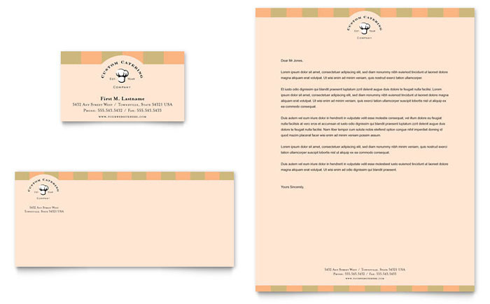 Catering Company Business Card & Letterhead Template Design - InDesign, Illustrator, Word, Publisher, Pages