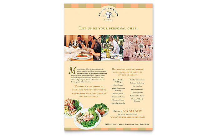 Catering Company Flyer Template Design Download - InDesign, Illustrator, Word, Publisher, Pages