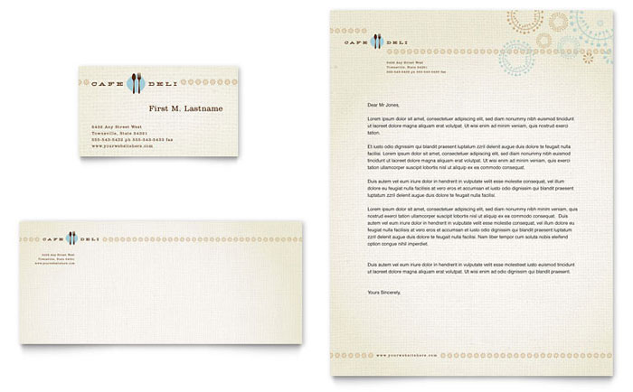 Cafe Deli Business Card & Letterhead Template Design - InDesign, Illustrator, Word, Publisher, Pages