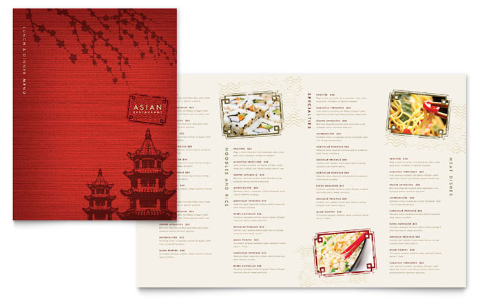 Asian restaurant menu template design for Akina japanese cuisine menu