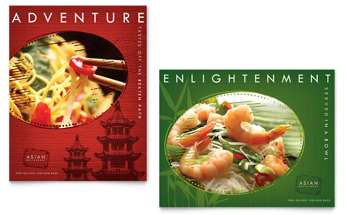 Asian Restaurant Poster Template Design Download - InDesign, Illustrator, Word, Publisher, Pages