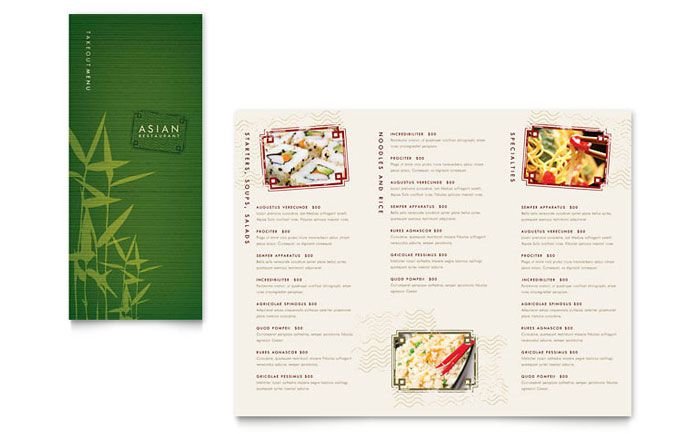 Asian restaurant take out brochure template design for Menu brochure template word