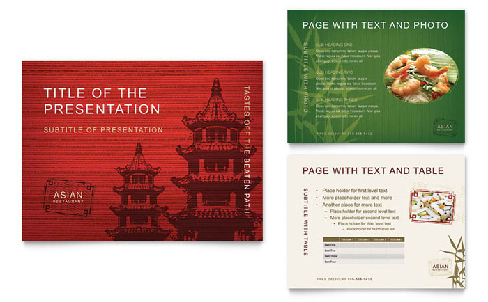 asian restaurant menu template design, Powerpoint templates