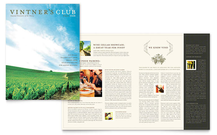 Vineyard winery newsletter template design for Agriculture brochure templates free