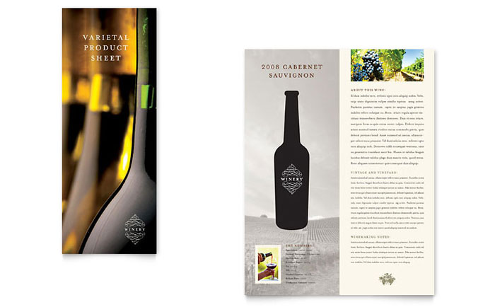 Vineyard winery datasheet template design for Wine brochure template