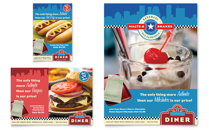 American Diner Restaurant Flyer & Ad Template Design