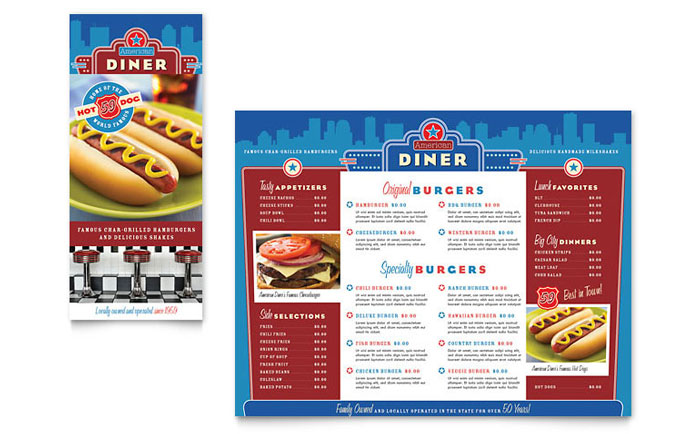 American Diner Restaurant Take-out Brochure Template Design