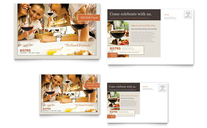 Bistro & Bar Postcard Template Design Download - InDesign, Illustrator, Word, Publisher, Pages