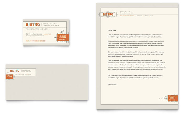 Bistro bar business card letterhead template design for Restaurant letterhead templates free