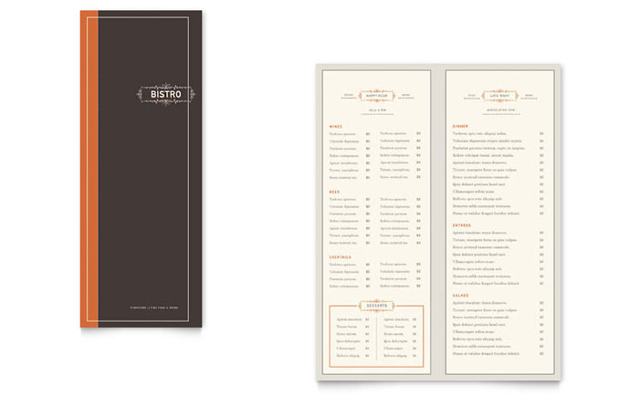 Bistro U0026 Bar Take Out Brochure Template Design  Free Word Menu Template