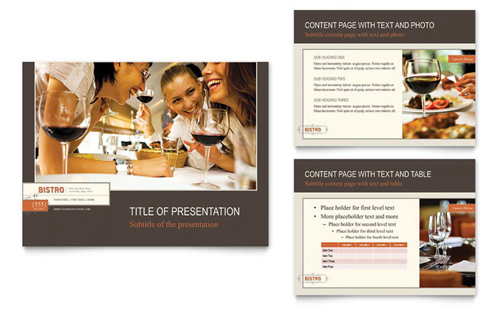 Bistro Amp Bar Powerpoint Presentation Template Design