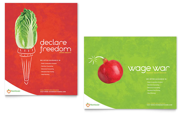 Nutritionist & Dietitian Poster Template Design