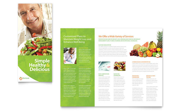 Nutritionist Dietitian Tri Fold Brochure Template Design - Food brochure templates