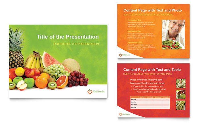 Nutritionist dietitian powerpoint presentation template design toneelgroepblik Images