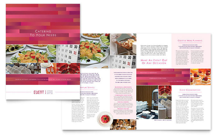event brochure templates - corporate event planner caterer brochure template design
