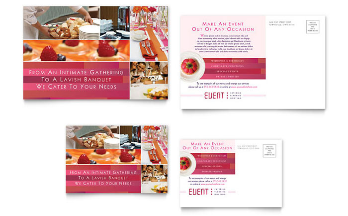 Corporate Event Planner Caterer Postcard Template Design - Event postcard template