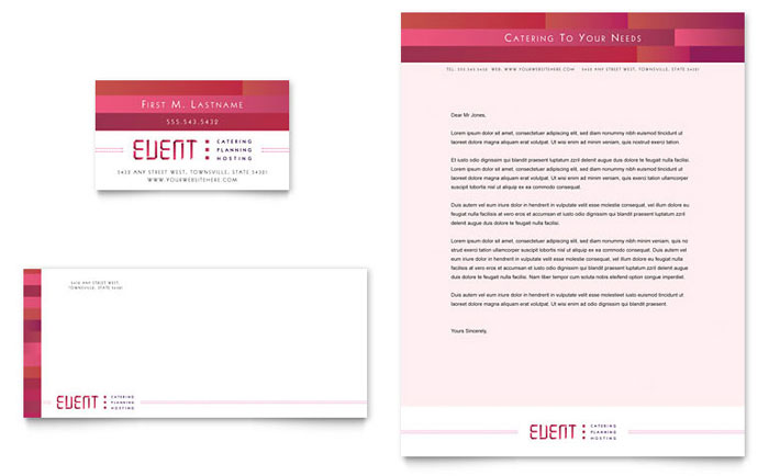 Corporate Event Planner U0026 Caterer Business Card U0026 Letterhead  Events Planning Template