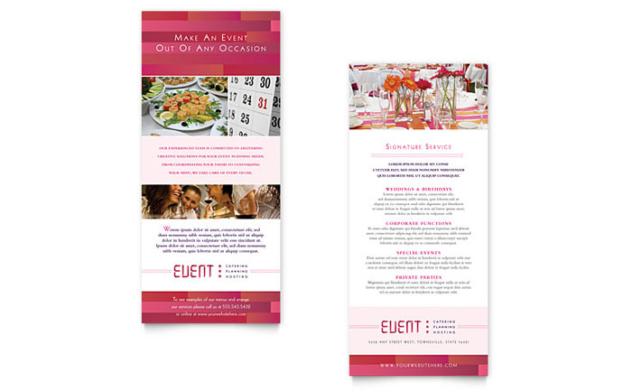 wedding planner brochure template - corporate event planner caterer rack card template design