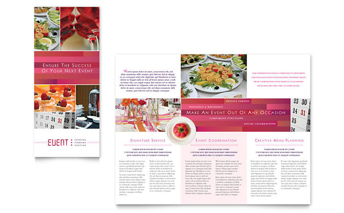 Corporate Event Planner Caterer Tri Fold Brochure Template Design - Event brochure template