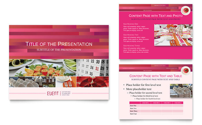 corporate event planner caterer powerpoint presentation template design. Black Bedroom Furniture Sets. Home Design Ideas