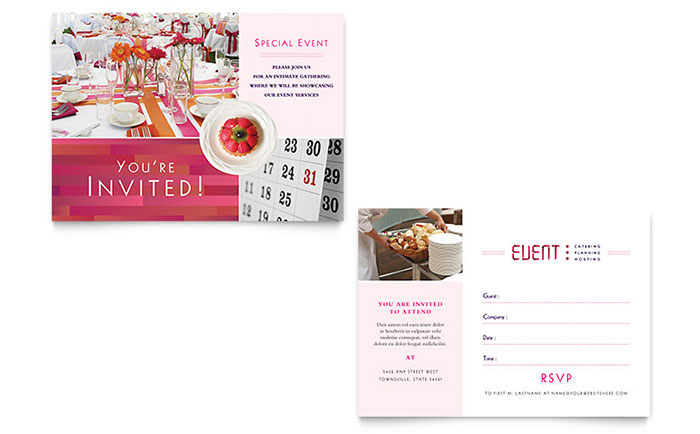 corporate event planner caterer invitation template design