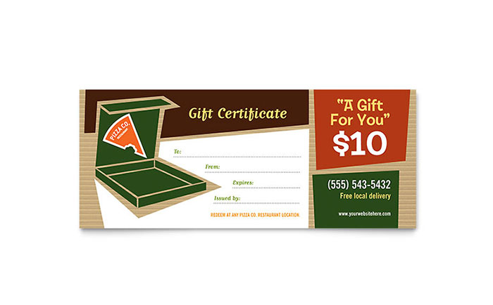 Pizza pizzeria restaurant gift certificate template design yadclub Image collections