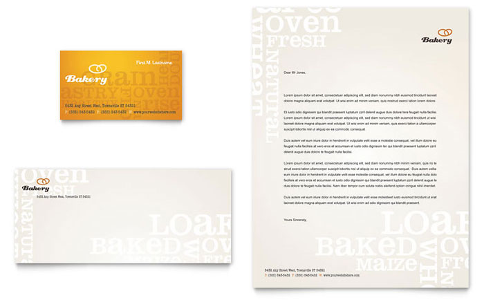 artisan bakery business card  u0026 letterhead template design