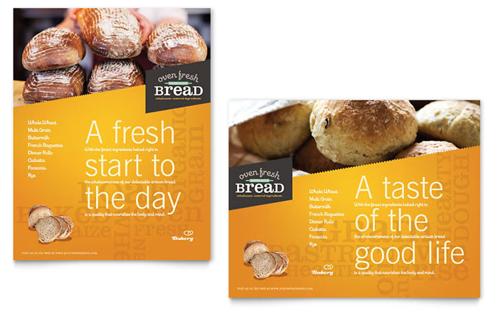 Artisan Bakery Poster Template Design - InDesign, Illustrator, Word, Publisher, Pages