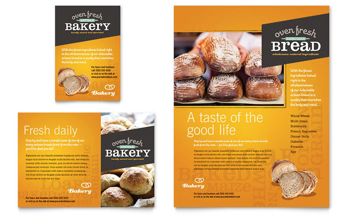 Artisan Bakery Flyer & Ad Template Design Download - InDesign, Illustrator, Word, Publisher, Pages