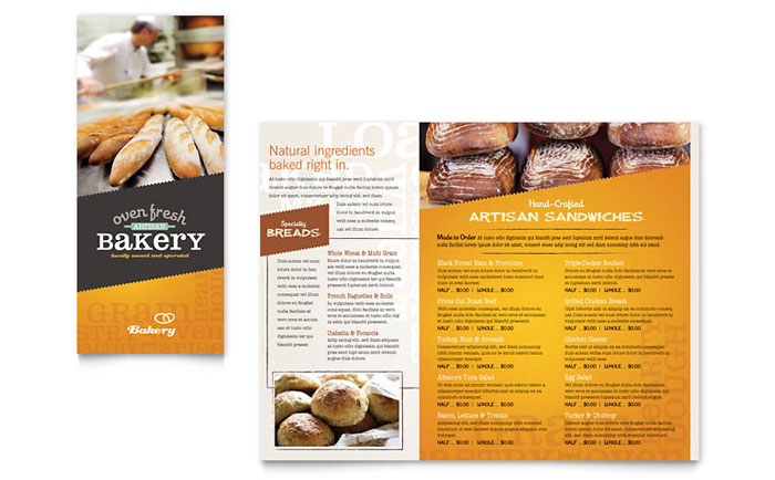 Artisan Bakery Takeout Brochure Template Design - Bakery brochure template free