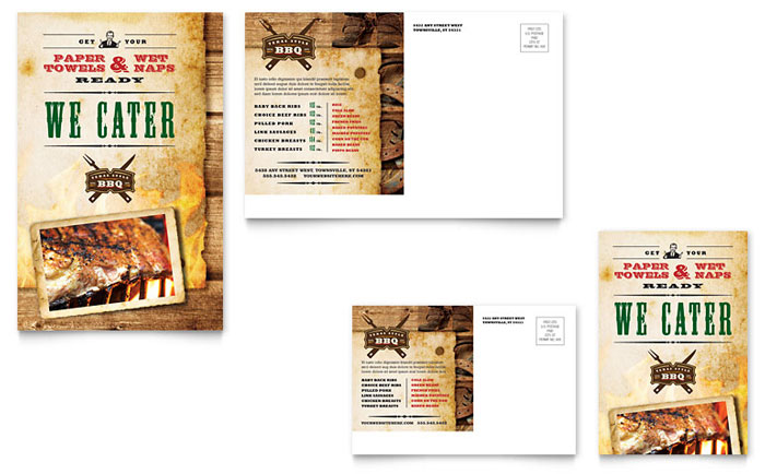 Steakhouse bbq restaurant postcard template design for 6x4 postcard template
