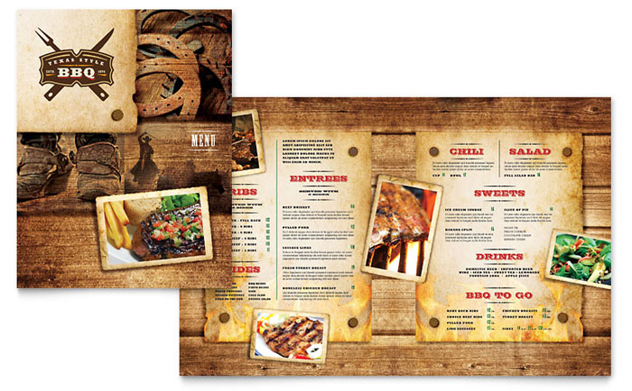 steakhouse bbq restaurant menu template design