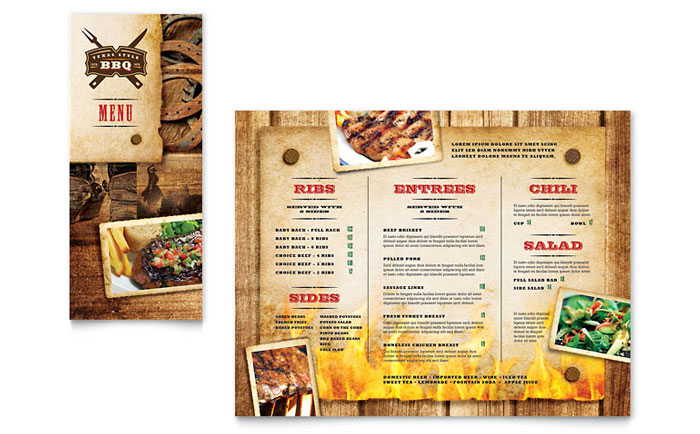 Steakhouse bbq restaurant take out brochure template design for Microsoft publisher menu templates free