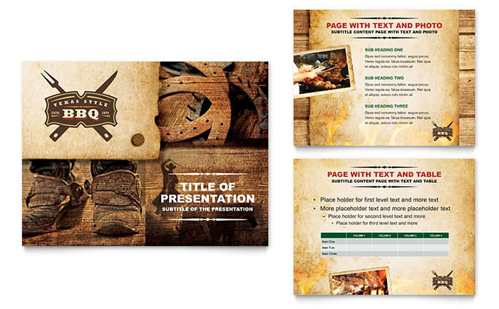 Steakhouse BBQ Restaurant PowerPoint Presentation Template Design - Powerpoint menu template