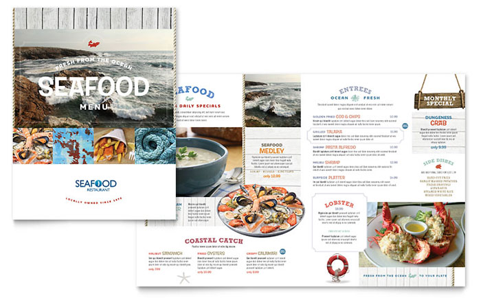 Seafood restaurant menu template design for Menu brochure template word