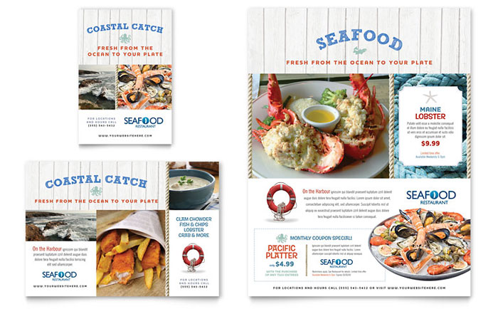 Seafood Restaurant Flyer  Ad Template Design