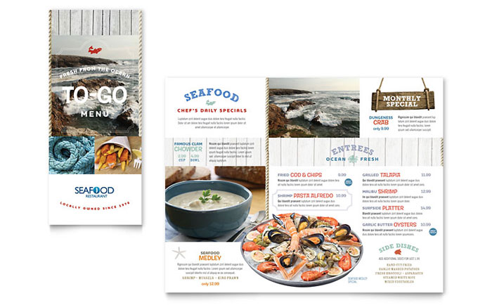 Seafood restaurant take out brochure template design for Menu brochure template word