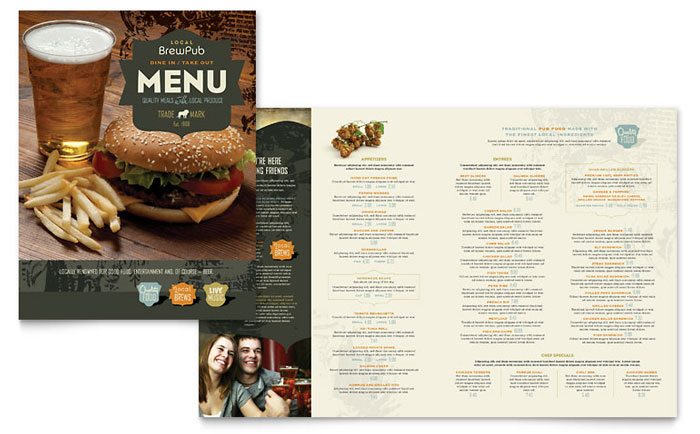 Brewery brew pub menu template design for Microsoft publisher menu templates free